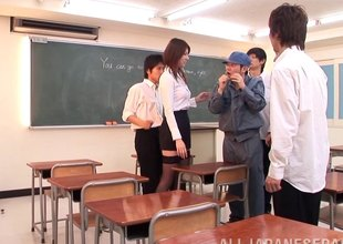 Red hot Asian teacher keeps students after assortment to fuck