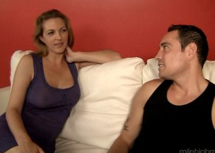Coed playgirl shares her boyfriend with a sexy older women