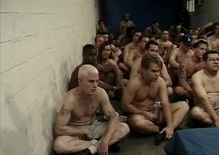 Dozens of men bukkake the face of a incomparable blonde girl