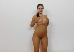 Solo brunette hair in high heels has a huge nylon charm