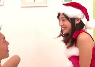 Asian girl dressed analogous to Christmas helper sucks and fucks her man