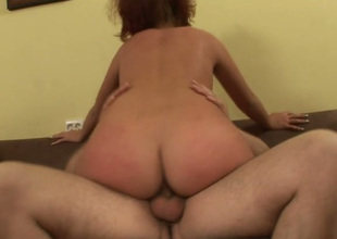 Messy haired redhead Diana passionately jumps on stiff sopping dick