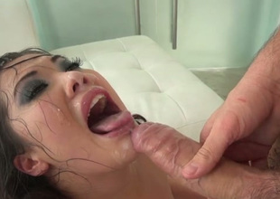 Fine breathtaking Asian brunette gets brutally analfucked doggy position
