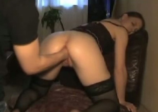 Spoiled wench in black stockings zigzags over for her BF so he can first her