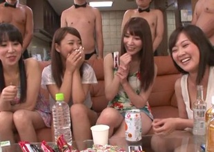 Long haired Japanese babes adjacent to scornful heels tease cocks adjacent to hot gangbang
