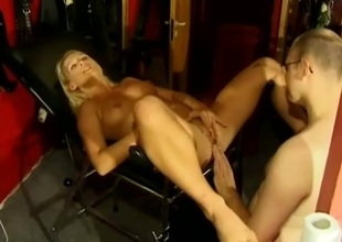 Impassioned blonde having say no to hairless pussy fingered before being hammered missionary