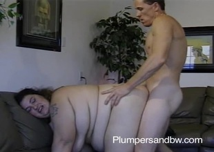 BBW slut getting her vagina fucked and face jizzed inspect sucking cock