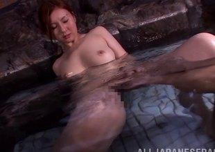 Hot tub-bath time beside a hot Japanese hotty that makes him cum