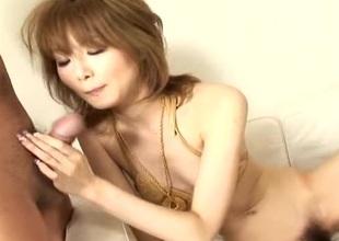 Asian cuttie in their way blue-eyed bikini sucking a hard cock