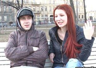 Redhead teen hottie enjoys copulation with strangers she just met