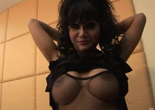 Wavy haired night in fishnets milks a stiff cock be proper of cum in pov