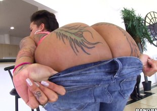 Brunette pornstar has their way big gazoo oiled nearly occasionally plugged with a big black cock hardcore