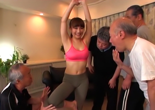 Naughty Asian Milf, Mao Kurata Team-fucked Hard By Old Dudes