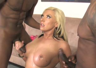 Excited blonde beauty Skylar Expense copulates a handful of black admass