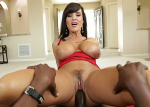Hellacious brunette bombshell rides big darksome cock like a true cowgirl