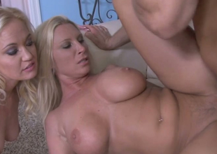 Hot blondies Devon Lee with the addition of Whitney Enhance fuck one horny dude