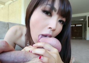 Sexy Asian harlot gives some nice blwojob on POV camera