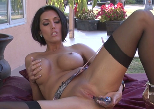 Sassy nurturer with great circle Dylan Ryder masturbates with glass dildo