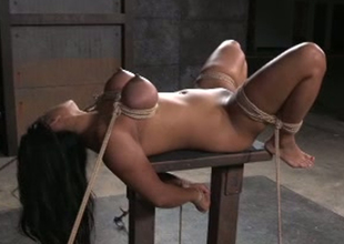 On the go bodied porn slut Maxine X is toy fucked intensively round hardcore BDSM porn episode