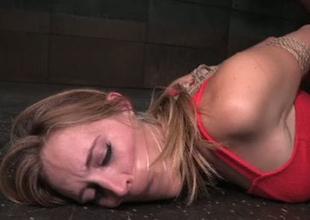 Bondaged porn model Mona Wales is toy fucked in obscene Sadomasochism porn videotape