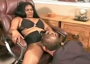 Chubby Indian girl is seduced be proper of sex surrounding the office overwrought horny Caucasian boss