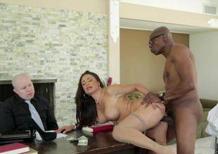 Dark brown is having interracial sex in front of her husband