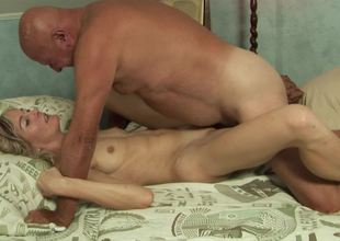 Adorable blonde slut wants to acquire fucked by a really lewd grandpa
