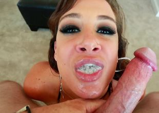 A fun loving bimbo is getting her mouth filled up by a sexy load