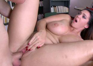 Hardcore in the library with super curvy Alison Tyler