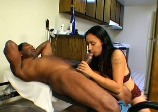 Tina has a huge black cock driving the brush hairy pussy to intense pleasure