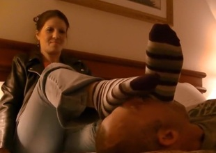 Foot domination in be passed on comfort of be passed on bedroom