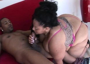 Fat black MILF with an over-sized bore goes forlorn on a younger nigga