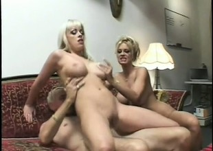 2 wonderful blondes please as a last resort other's fiery snatches and share an older guy's cock