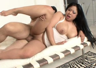 Plump painless roger Asian slut with great tits gets roughed roughly on camera