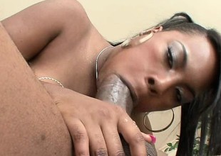 Red bone hussy gets all over to play with her man's chocolate pole