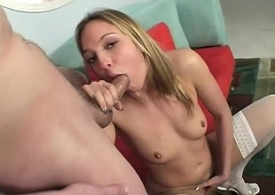 A voluble girl enjoys an intense orgasm as she rides her man's meat