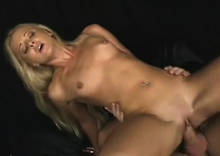 Gilded cutie Edina cries from pain while obtaining butt drilled
