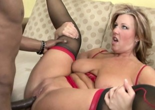 Fierce blond chubster at hand red lingerie takes on a massive black blarney