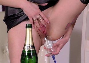 Drinking her natural Sparkling burgundy and fucking