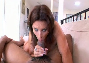 Green eyed hottie Bailey Brooks sucking and tugging juicy dark pecker