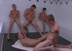 These 5 slutty twinks receives into some hot action in the sauna.  KC & Billy get into some hardcore gazoo fucking while the Rob, Jason adn Dean progeny jerking off their cocks as they watch.  KC sits on Billy's cock riding him like a pony until they both shoot their l
