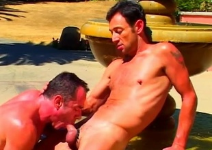 Mike Vista and his fellow get hawt in put emphasize sculpted stone fountain in this 21 minute scene that begins nearby a fellatio that has ''attention relative to detail'' written all over it.  Both these guys are amazing relative to look at, nearby super-athlete muscles and big cocks that'l