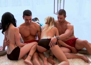 Singles erotic pastime in Foursome mansion