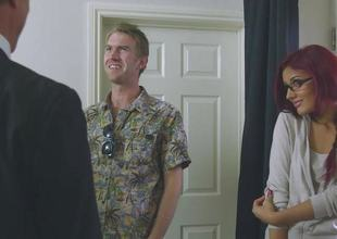 Flame haired Aylin Diamond fucks her fathers colleague