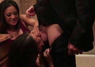 Kaylani Lei and Kalina Ryu swell up cock surrounding take a piss