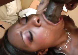 Imani Rose is wet as the ocean in this steamy interracial scene with a bulk of pussy drilling