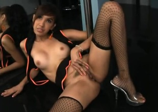 Ladyboy dances on the pole and rubs her cunt