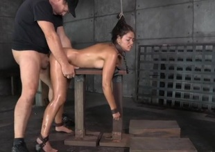 Ava Dalush spit roasted in a slavery threesome
