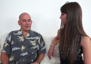 Luscious minx having an affair with mature bald man