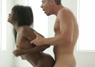Black hottie on her hands and knees for namby-pamby dick